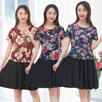 中老年女装短袖连衣裙大码假两件妈妈装夏装韩版显瘦中长款裙子