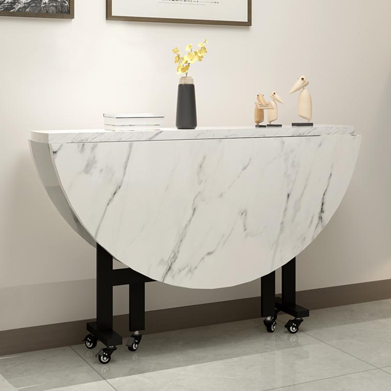 折叠桌家用移动圆形客厅桌子大圆桌