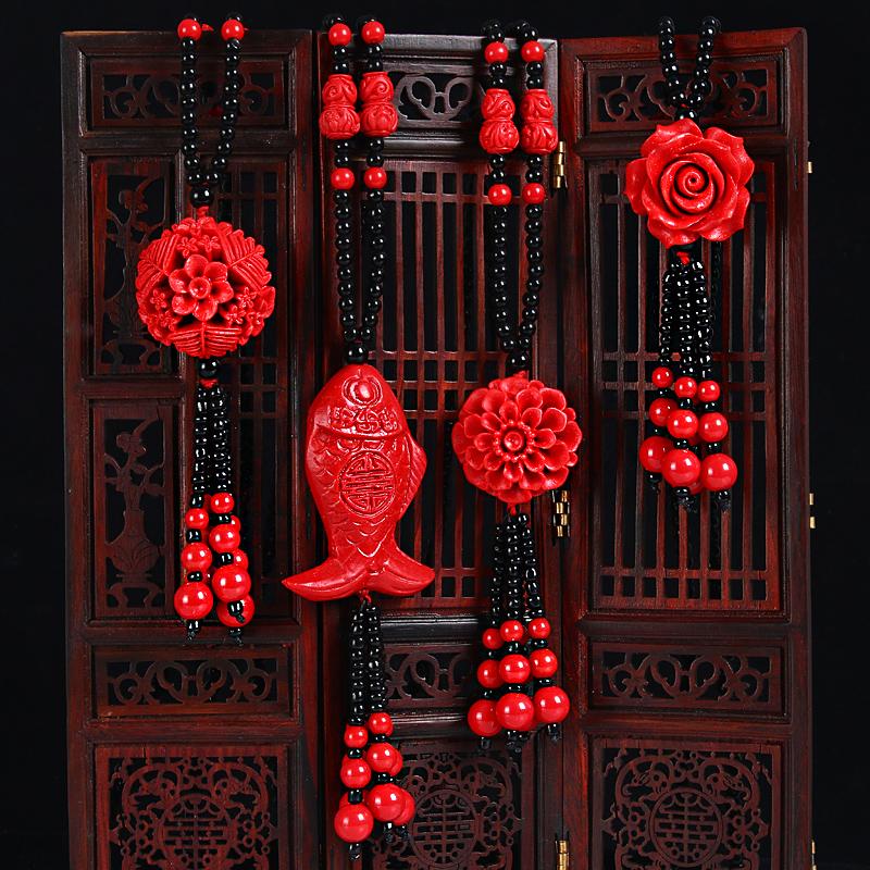 朱砂红色漆雕毛衣链时尚百搭吊坠配饰长款流苏衣服装饰品韩国项链