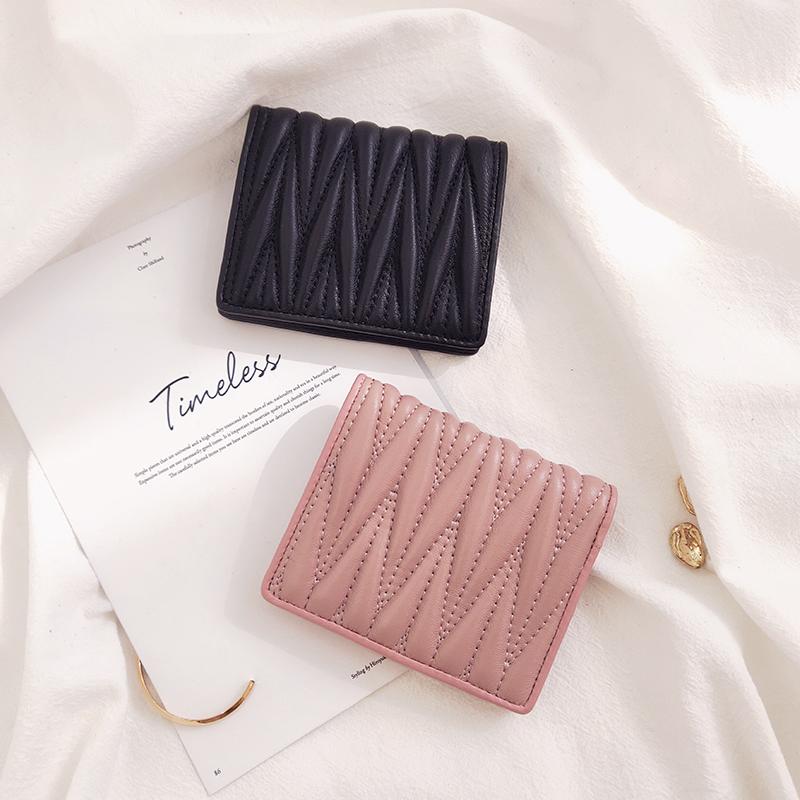 缪家真皮小钱包女士新款2021短款学生韩版可爱时尚小巧对折零钱包