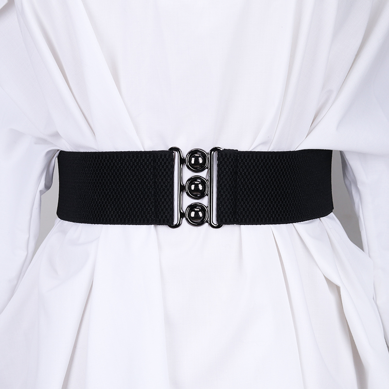 Black waistband for womens simple and versatile Korean version elastic elastic wide waistband with skirt, shirt and coat