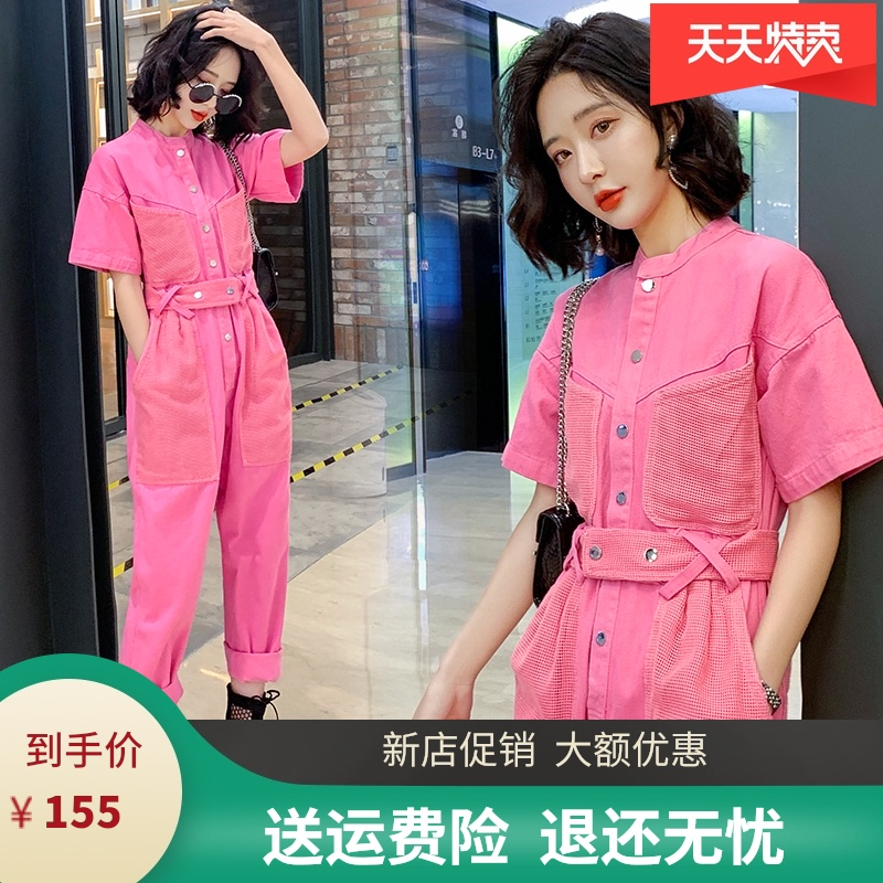 Womens one-piece pants summer Korean version high waist show thin loose tooling panties 2020 new short sleeve casual one-piece pants trend