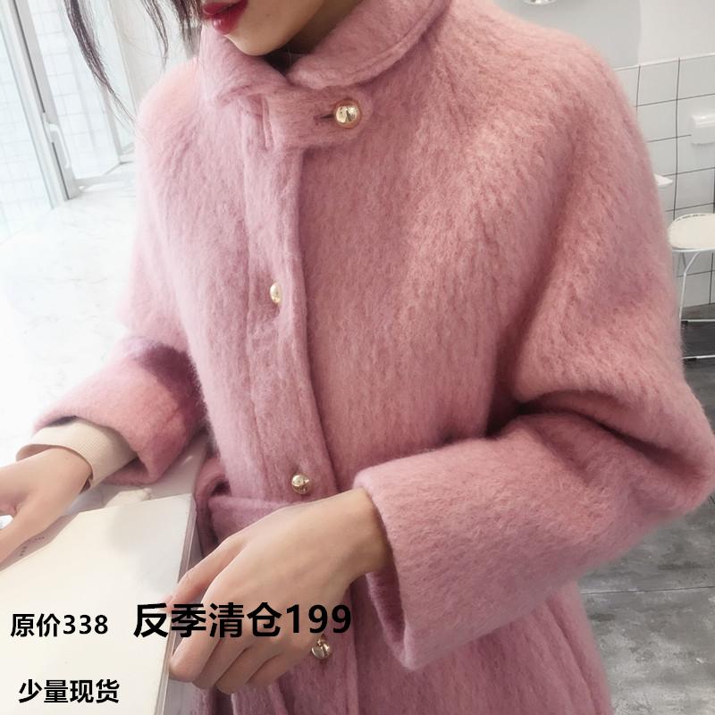 换季清仓赫本风毛呢外套女中长款款韩版暗粉色娃娃领羊绒呢子大衣高清大图