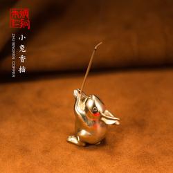 朱炳仁铜 小兔香插 创意家居饰品实用礼品线香盘香小摆件铜工艺品