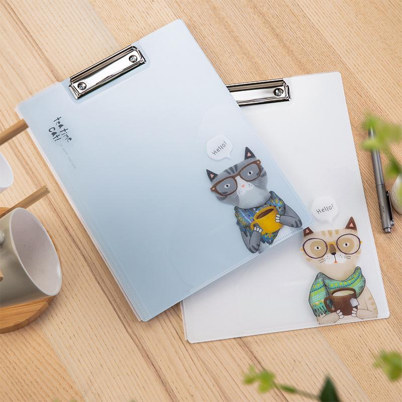 得力文件夹72530天蓝白色萌猫板夹(非品牌)