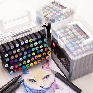 得力套装70701马克笔24色36色48色60色双头方杆学生初学者用绘画手绘动漫建筑美术设计专用彩色