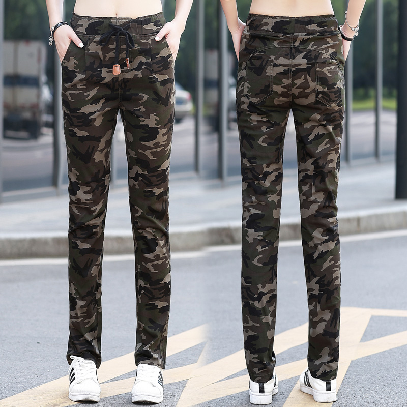Camouflage pants womens summer 2020 Korean version slim work pants womens autumn loose straight outdoor sports casual pants