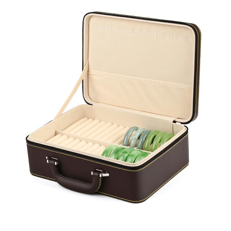 高档皮质珠宝手镯箱30位玉器翡翠手镯戒指玉镯子展示收纳盒