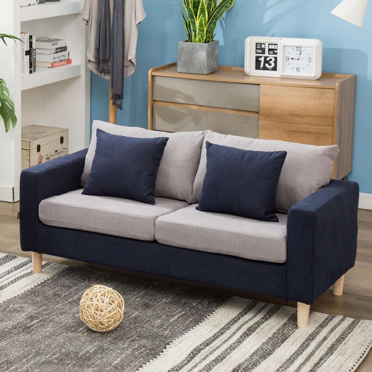北欧简约小户型双人沙发公寓咖啡服装面包店两人三人小沙发全拆洗