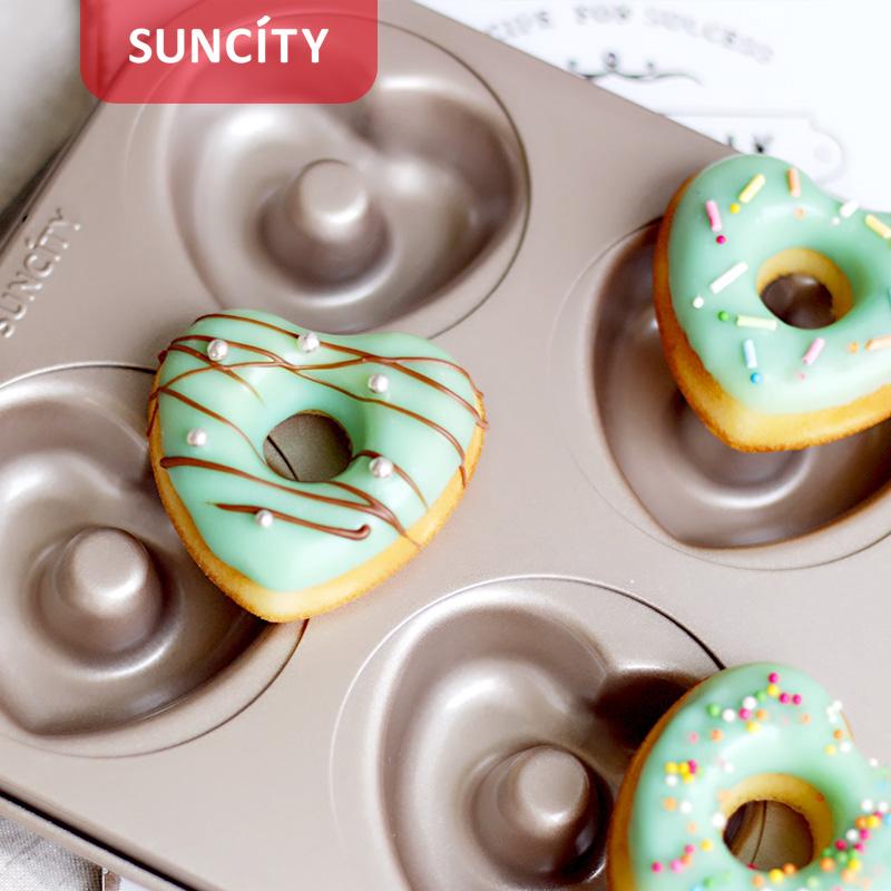 阳晨烘焙工具6连不粘花形甜甜圈蛋糕模具双面不沾烤盘烤箱家用