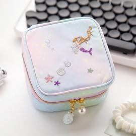 刺绣甜美随身便携方形首饰盒 日韩可爱少女心ins旅行饰品收纳包