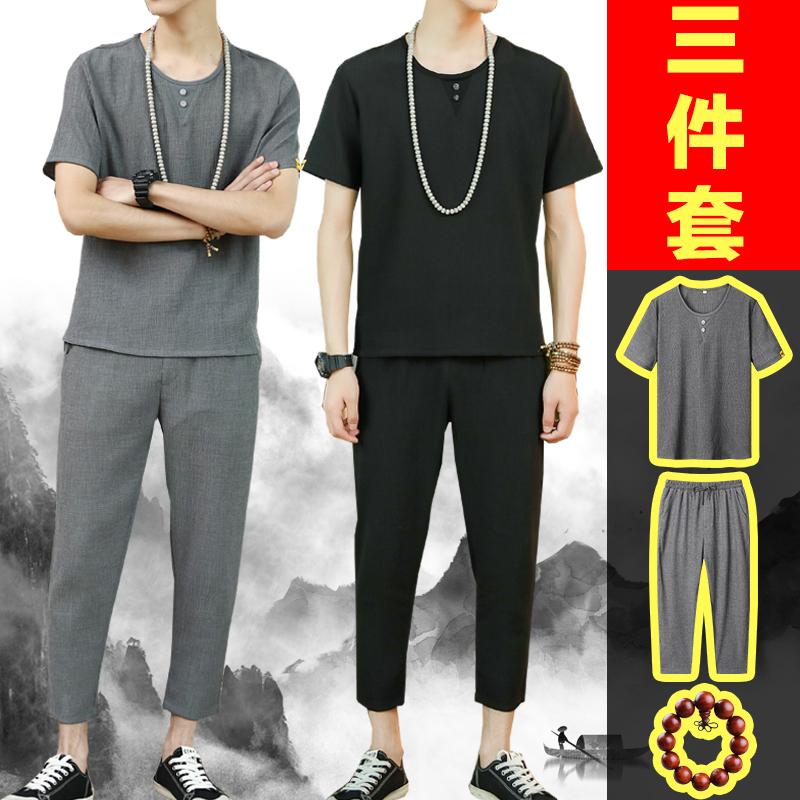 男士夏季套装中国风棉麻两件套休闲装潮流九分裤冰丝v短袖T恤薄款