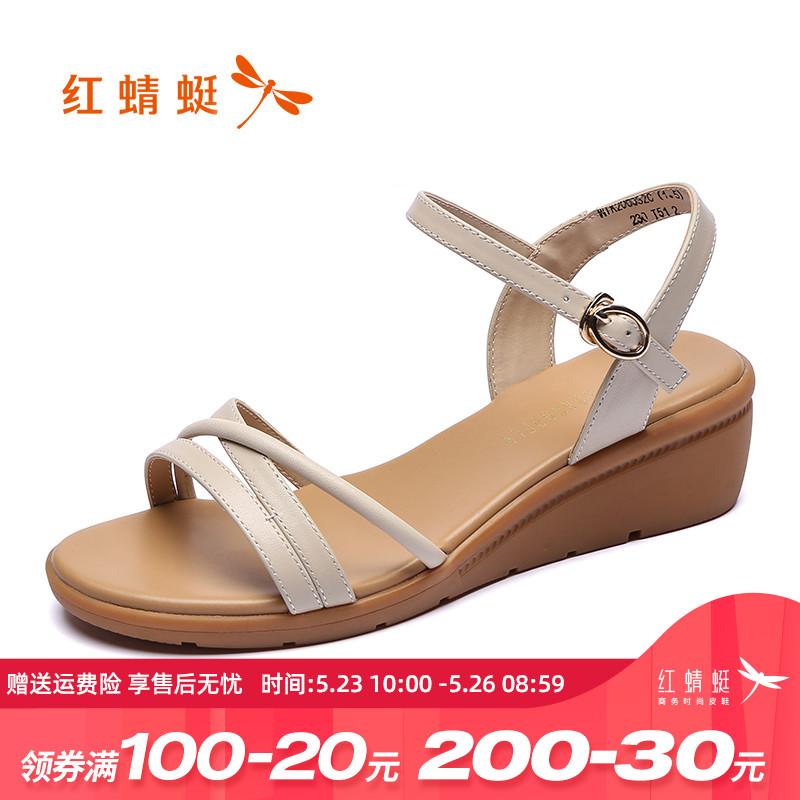 红蜻蜓女鞋2020夏季新款休闲坡跟凉鞋女简约一字扣中跟真皮高跟鞋图片