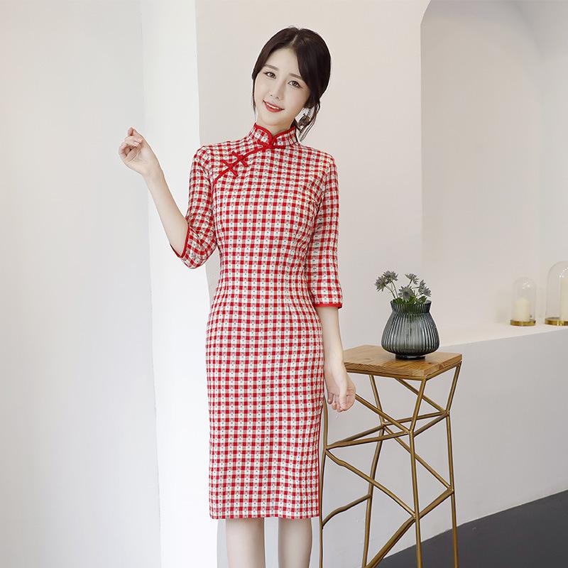 2020年夏季新中国风旗袍少女中袖亚马逊时尚复古格子小清新连衣裙