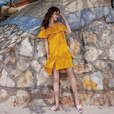 旅行路上三亚度假沙滩裙女夏超仙小个子黄色裙子海边一字肩连衣裙