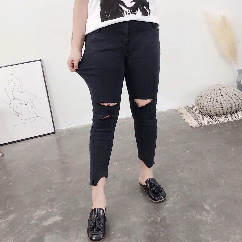 胖妹妹破洞牛仔裤紧身黑色弹力裤加大码女装裤学生显瘦长裤小脚裤