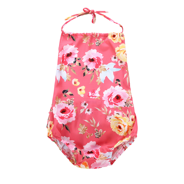 Baby girl baby summer powder flower open back Chiffon ha Yi one-piece clothes summer tide clothes newborn baby clothes