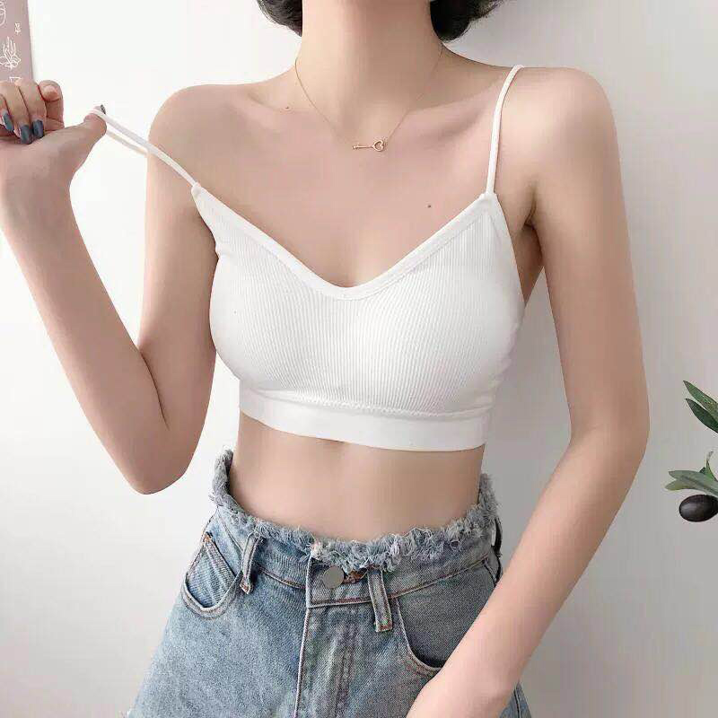 Japanese womens slim back underwear without steel ring sexy versatile small chest vest type one-piece sling bra womens thin