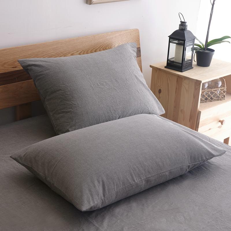 水洗棉纯棉枕套单个一对拍2 全棉大号枕芯套单人枕用枕头套一只装