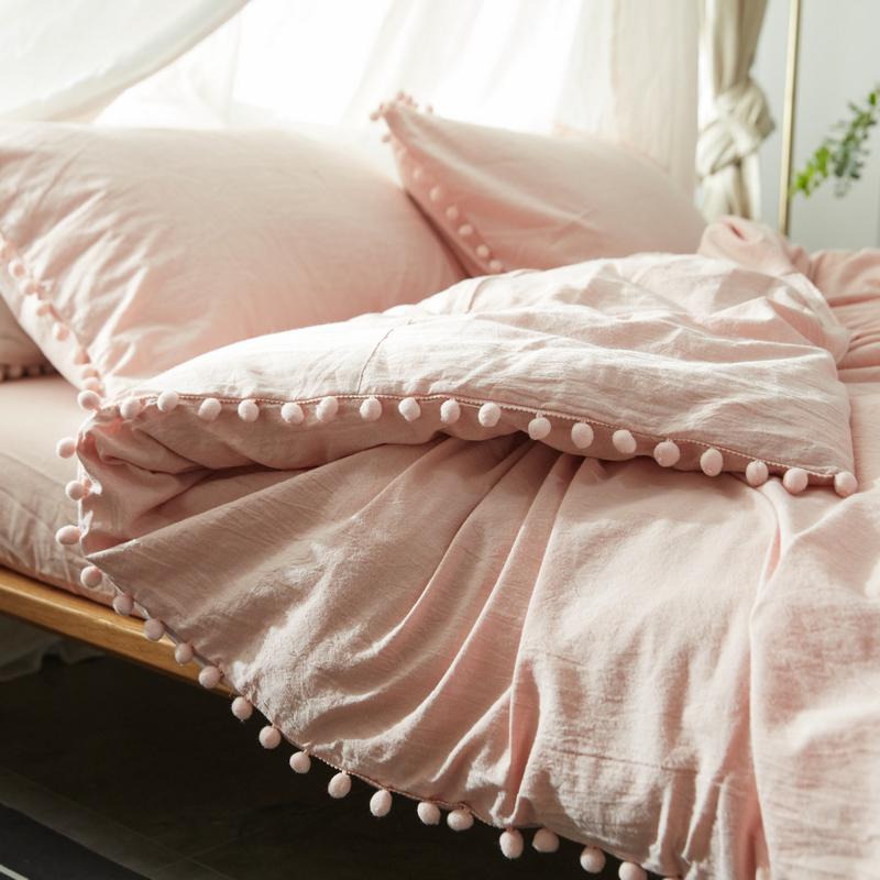 ins风可爱球球纯棉床上四件套女 全棉水洗棉网红款床单被套三件套
