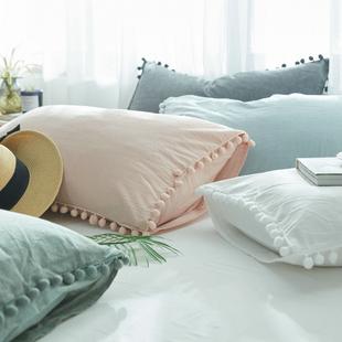 可爱毛球球纯棉枕套单人枕用 韩式枕芯套一对拍2全棉枕头套女单个价格