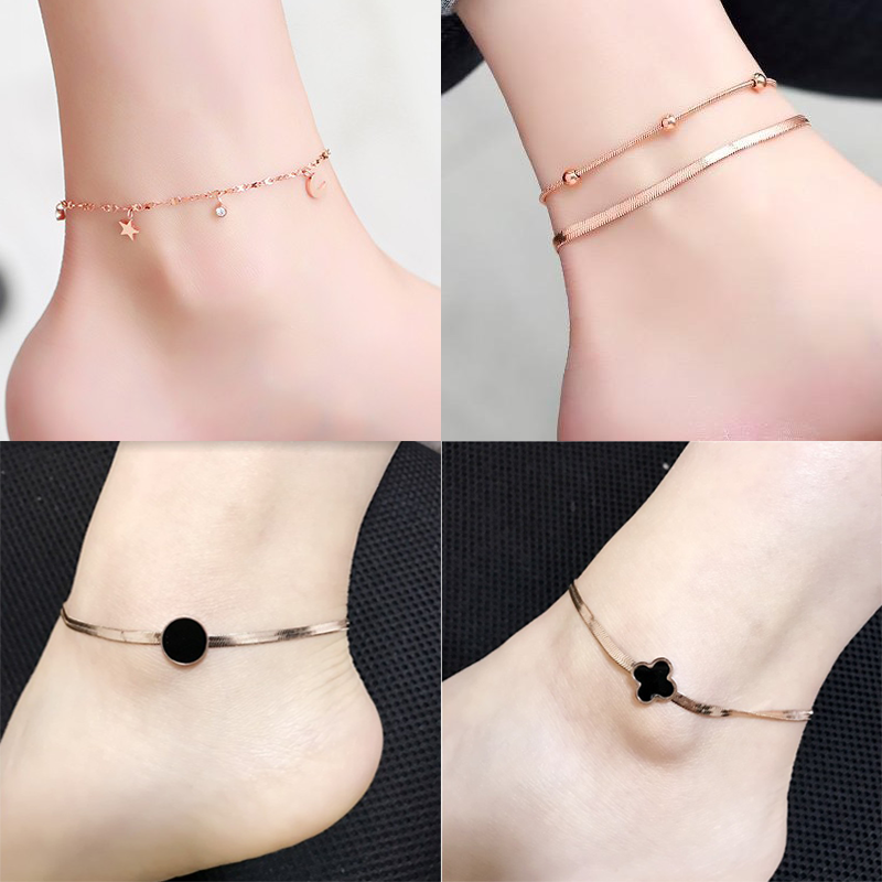 Anklet Japanese and Korean womens titanium steel 18k rose color gold package student red rope fashion simple bell double layer jewelry