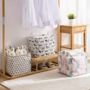 可折叠布艺儿童玩具收纳筐桌面手提防水收纳桶家用浴室杂物脏衣篮