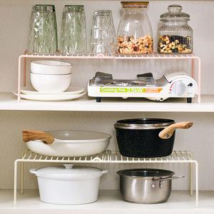 家用铁艺可伸缩置物架橱柜碗碟架子厨具收纳架厨房落地整理调味品
