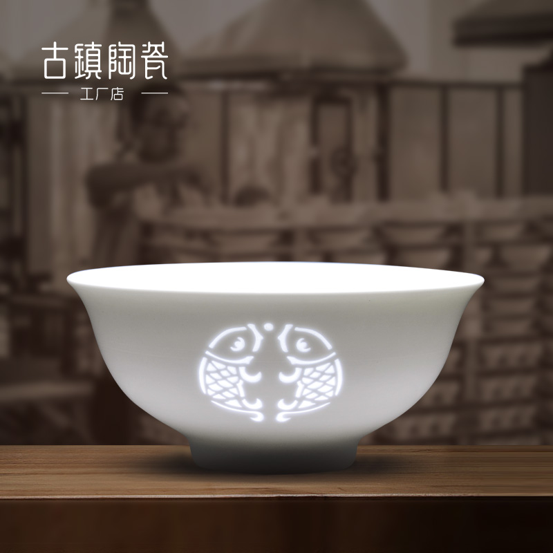 Ancient town ceramic dishes set household modern simple high-grade tableware white porcelain rice bowl soup bowl plate single set