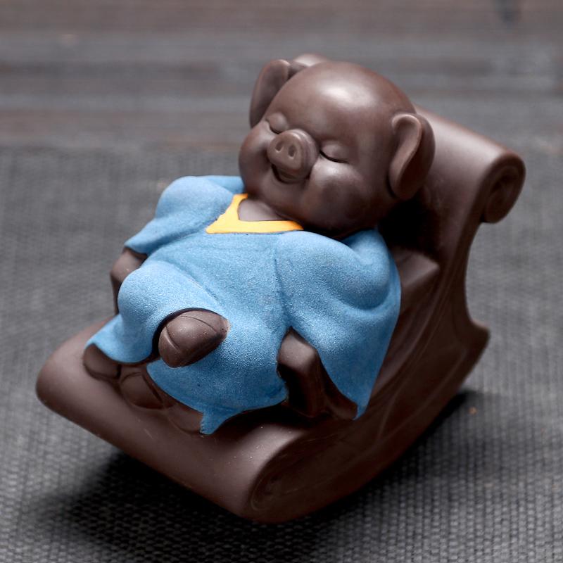 千猪变创意可爱小茶宠精品可养紫砂茶玩悠然自得摇摇椅猪家居摆件