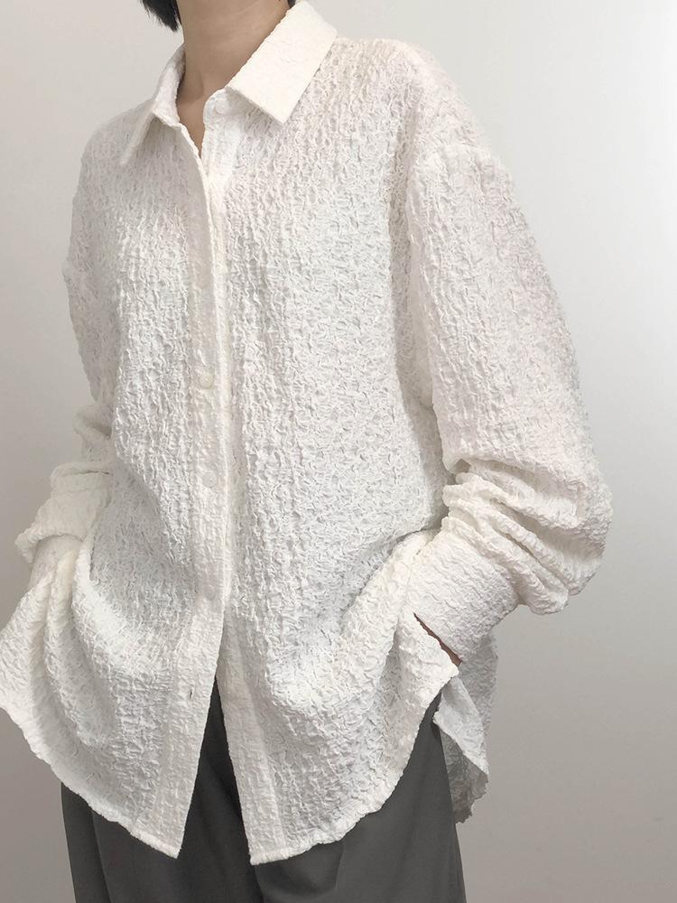 2021春装新款盐系复古感褶皱肌理纯色长袖白衬衫百搭显瘦上衣内搭