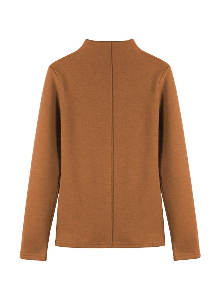 【2件69.9元】2019秋冬新款韩版修身加绒半高领纯色长袖打底衫女