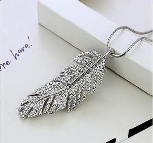 新款長款項鍊韓版毛衣鏈子鏤空鑲鑽樹葉子掛飾配件裝飾品女款飾品