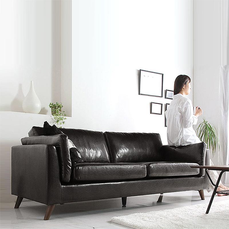 北歐皮沙發小戶型三人位黑色客廳整裝現代簡約辦公室皮藝沙發組合