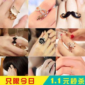 韩国小饰品简约小雏菊食指指环玫瑰花朵开口戒指女士潮流配饰包邮