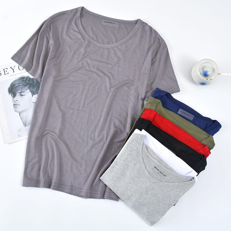 (用5元券)多色可选 莫代尔男士短袖睡衣夏季薄款冰丝家居T恤宽松大码家居服