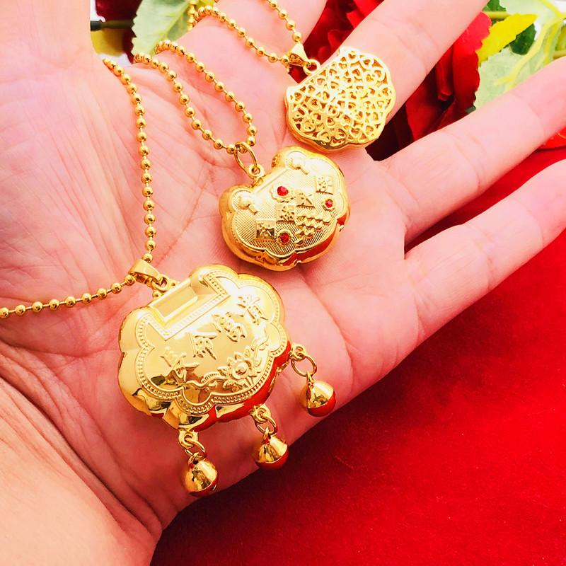24k仿黄金儿童长命锁沙金五角硬币铜镀金铃铛项坠宝宝百天照项链