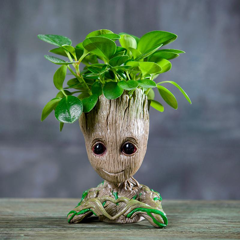 格鲁特绿植盆栽小树人吊兰植物发财树土培办公室净化空气花卉盆栽