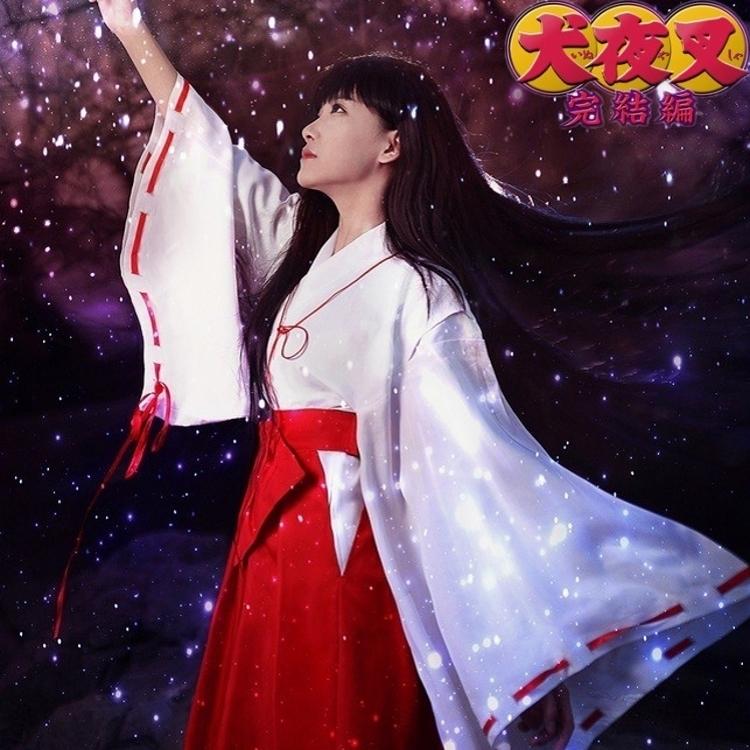 全套犬夜叉COSPLAY服�b桔梗COS服角色扮演和服�勇�日本巫女服道具