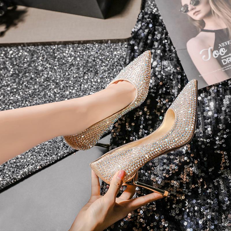 法式少女银色高跟鞋婚鞋女2019新款百搭网红细跟水晶鞋婚纱新娘鞋