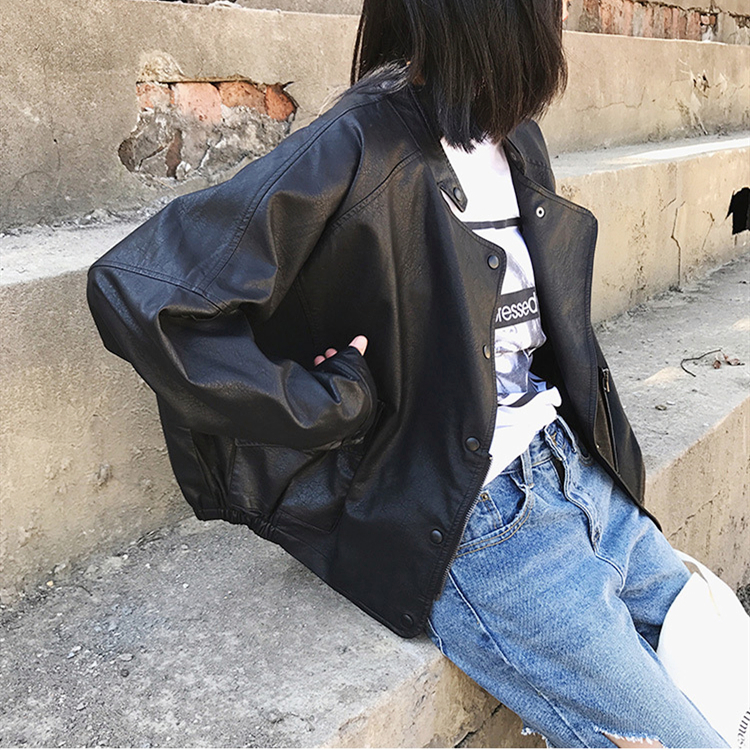 Spring and autumn leather jacket womens short Korean 2021 new PU leather trendy Motorcycle Jacket Small loose leather jacket