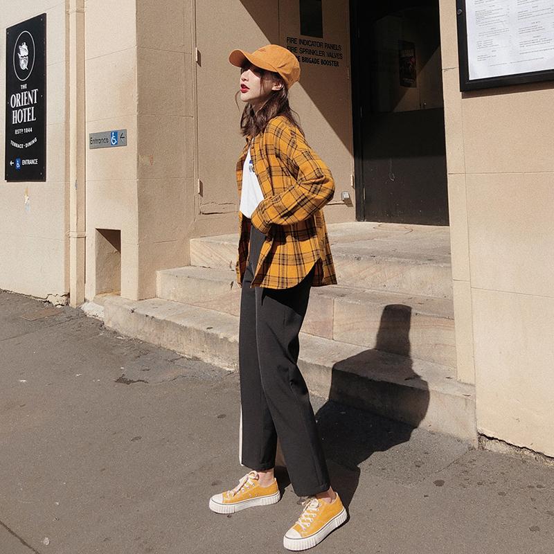 12月01日最新优惠林诗琦 秋季复古港味格子衬衫女设计感女小众衬衣夏季薄款防晒衫