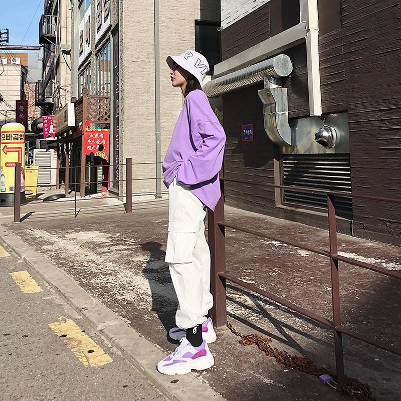 2018新款韩版宽松长袖紫色t恤女港味纯色超火的闺蜜装情侣上衣潮