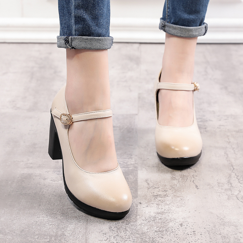 2019 spring new fashion leather round head thick heel shallow mouth single shoes womens high heels professional womens shoes dance shoes