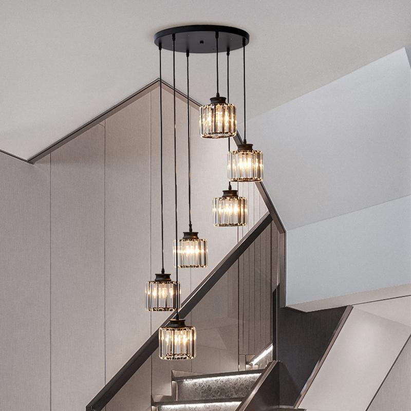 樓梯吊燈 復式樓簡約現代別墅客廳樓中樓長吊燈圓形旋轉水晶吊燈