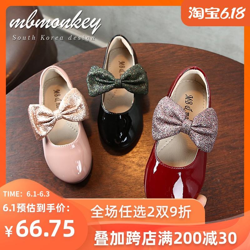 儿童鞋子黑色蝴蝶结2020秋季新款演出表演软底女童公主鞋童鞋单鞋
