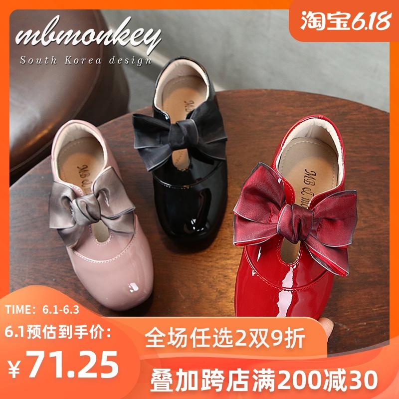 儿童鞋子 2020春秋新款时尚软底防滑演出黑色童鞋女童皮鞋 公主鞋