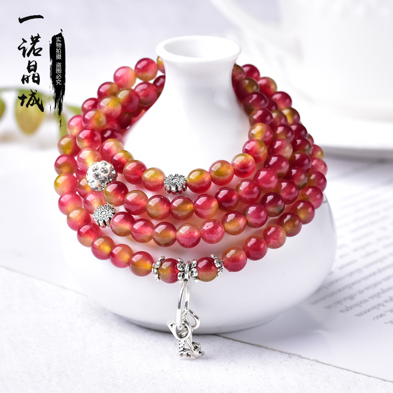 Natural watermelon crystal Wangfu stone multi Circle Bracelet women summer cool gem jewelry trend womens hand string accessories