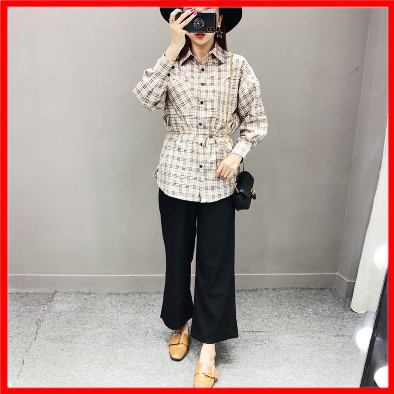 馨怡自制女装2018秋季新品复古格子宽松中长款衬衫外套女系带上衣