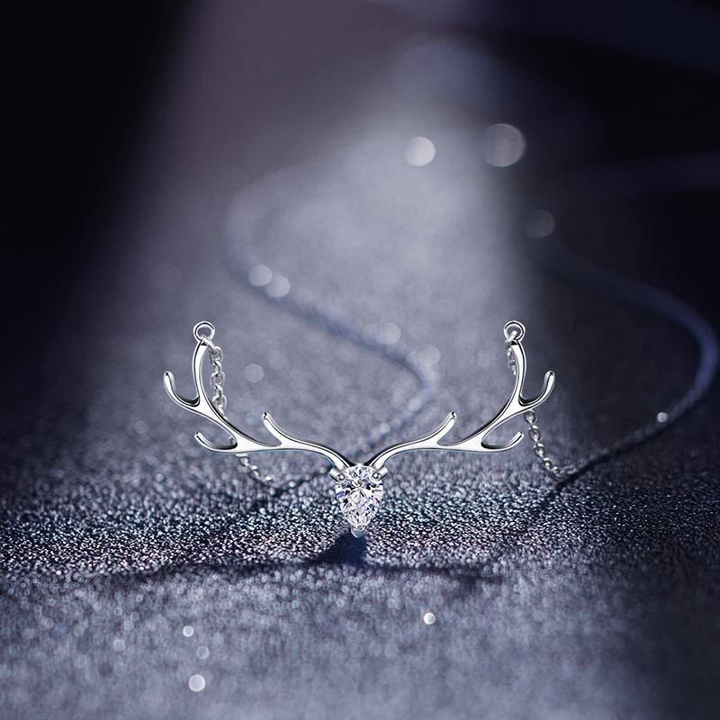 一鹿有你925纯银项链女生一路鹿角锁骨银简约潮网红气质小众ins鹿